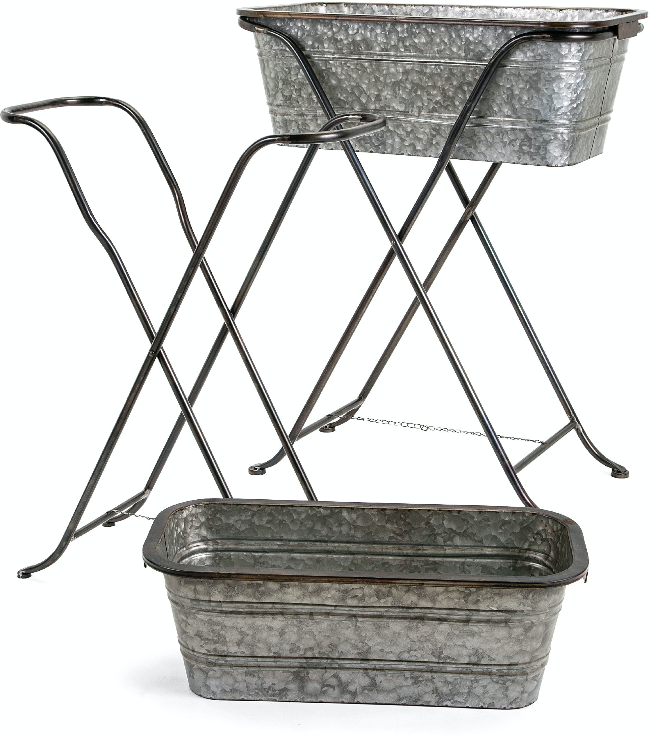 Imax Corporation Blaklin Galvanized Planters On Stand Set Of 2