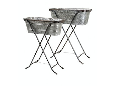 Blaklin Galvanized Planters on Stand - Set of 2