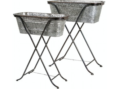 IMAX Corporation Blaklin Galvanized Planters on Stand - Set of 2 14095-2