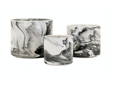 Kai Faux Marble Planters - Set of 3