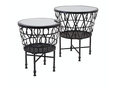 Zaria Drum Mirror Accent Tables - Set of 2