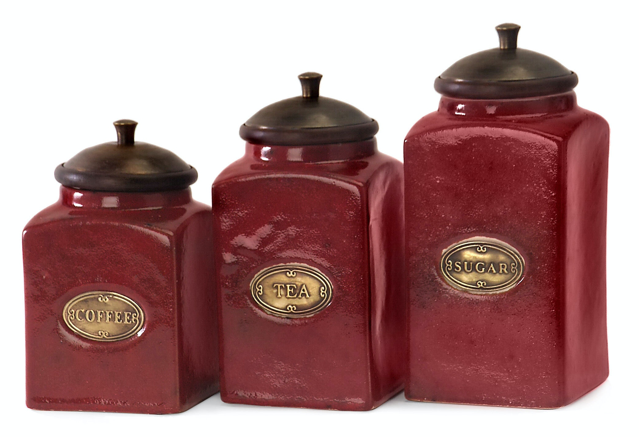 IMAX Corporation Accessories Red Ceramic Canisters Set Of 3 5268 3