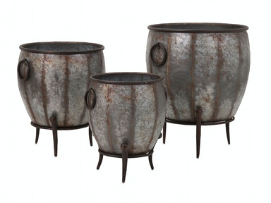 Mureilene Galvanized Planters - Set Of 3