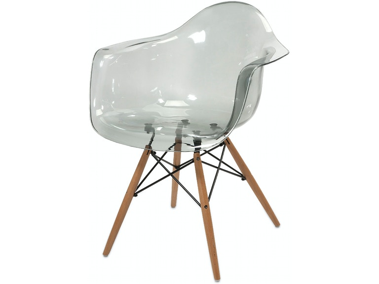 IMAX Corporation Beckett Grey Transparent Chair With Wood Leg 89524 from  Walter E. Smithe Furniture