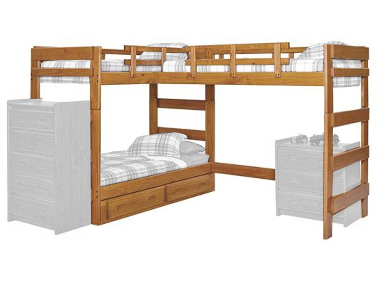 Woodcrest Youth Bedroom Heartland L Shaped Triple Bunk Bed Lb6200