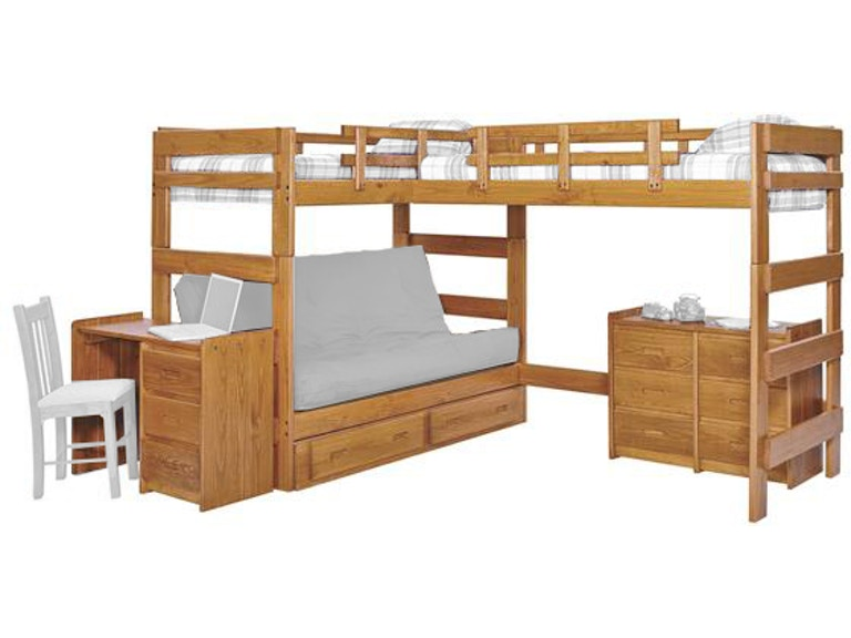 Woodcrest Youth Heartland L Shaped Futon Triple Bunk Bed