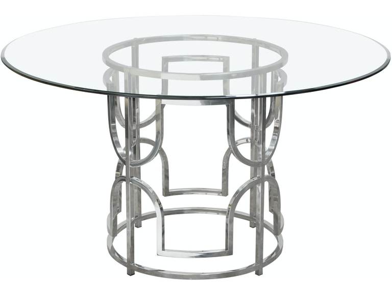 Diamond Sofa Avalon 54 Round Gl Top Dining Table With Stainless Steel Base Avalonrdt
