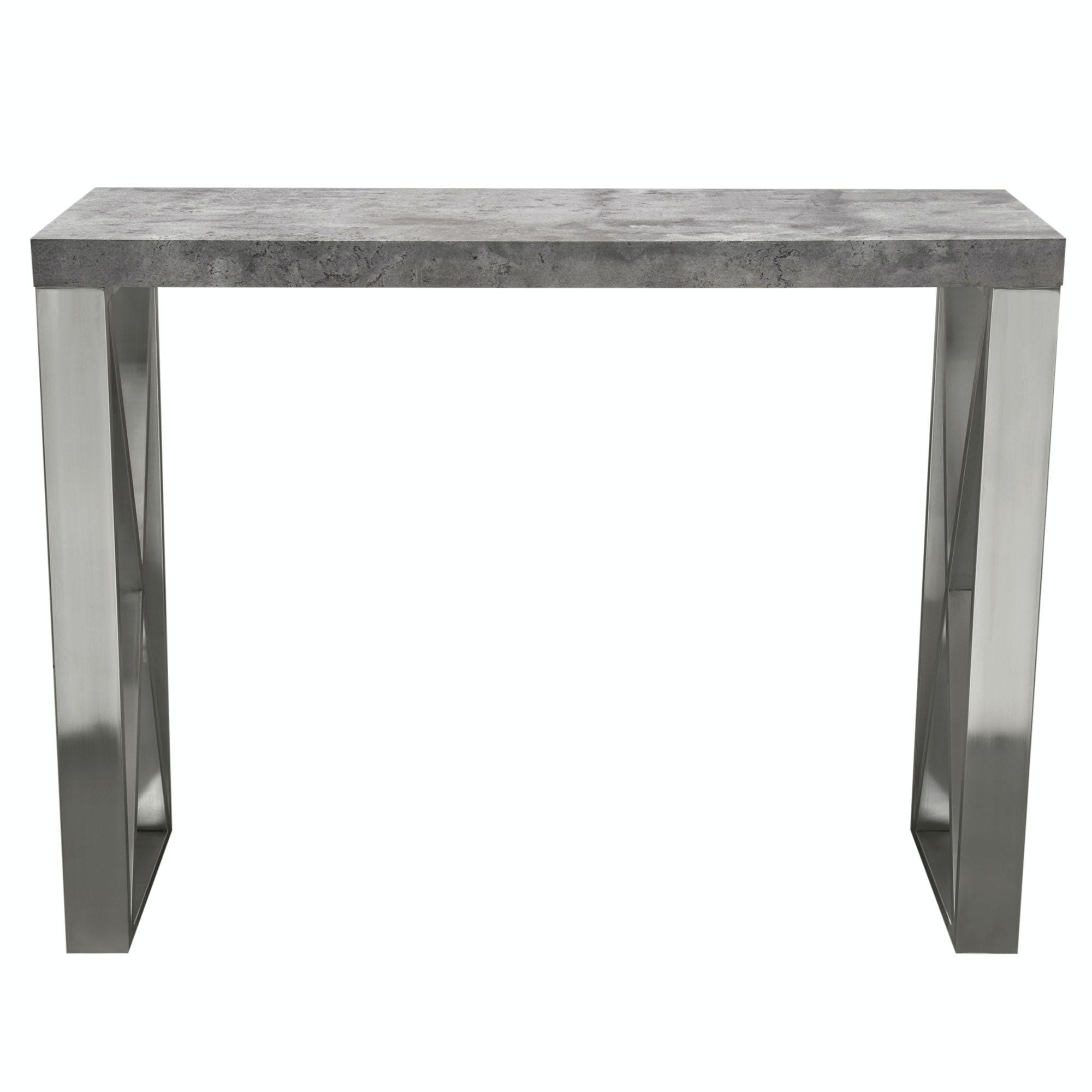 Picture of: Diamond Sofa Bar And Game Room Carrera Counter Height Table In 3d Faux Concrete Finish With Brushed