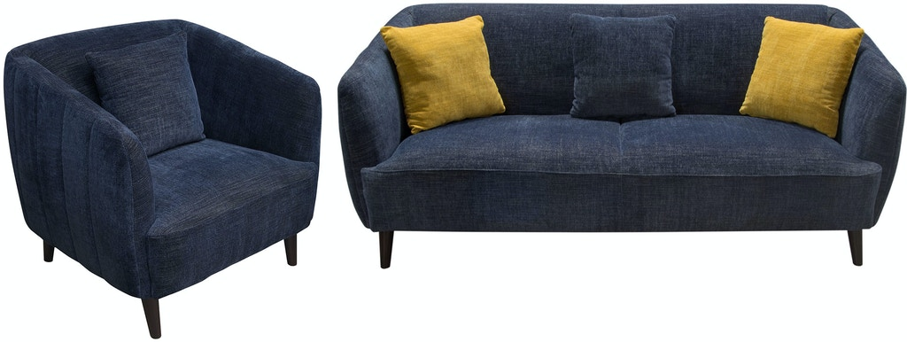 Diamond Sofa Living Room Deluca Midnight Blue Fabric Sofa