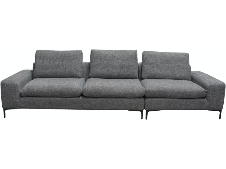 Diamond Sofa Living Room Flux 2pc Modular Sofa In Grey Fabric With Feather Down Seating And Black