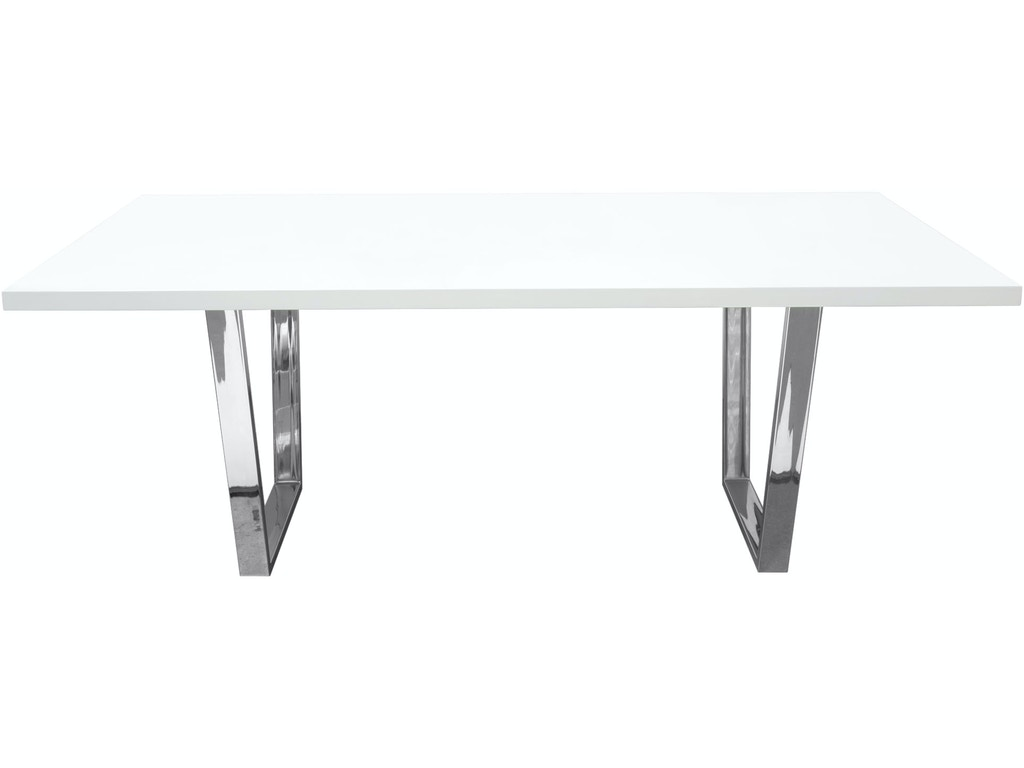 Diamond Sofa Mirage Rectangular Dining Table With White Lacquer Top And Chrome Base Miragedtwh