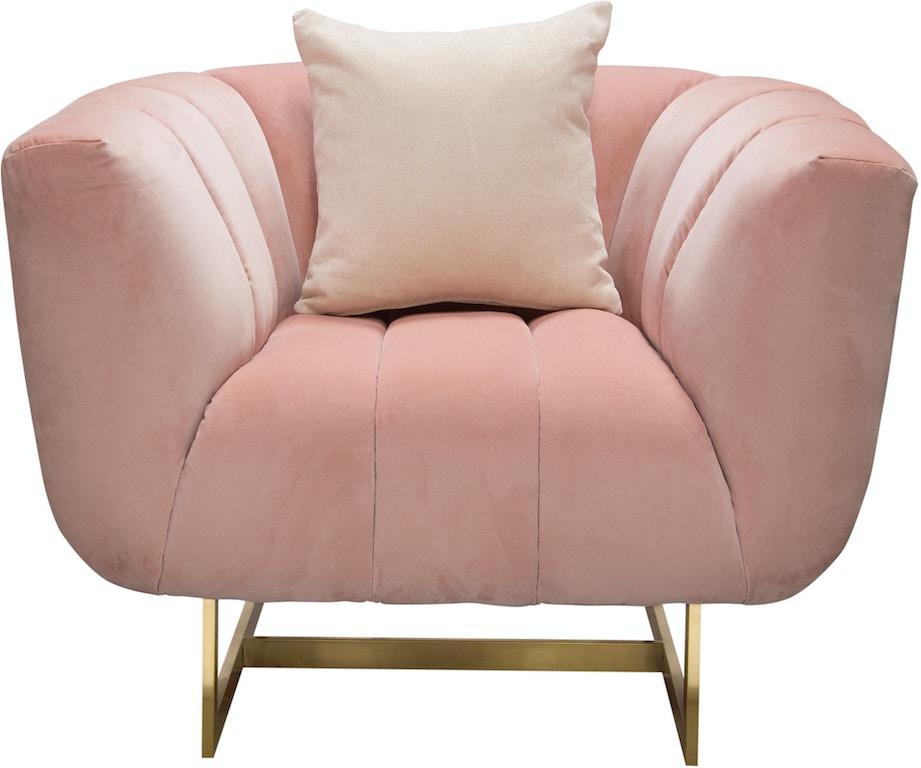 Diamond Sofa Living Room Venus Chair In Blush Pink Velvet