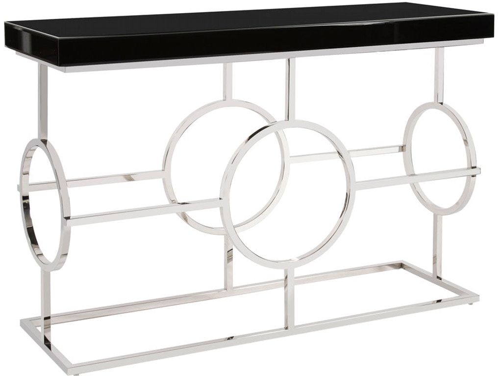 Howard elliott living room stainless steel console table with howard elliott stainless steel console table with black top 11182 geotapseo Image collections