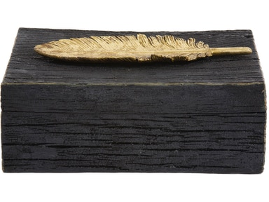 Howard Elliott Rustic Faux Wood Box with Gold Feather Accent 12194