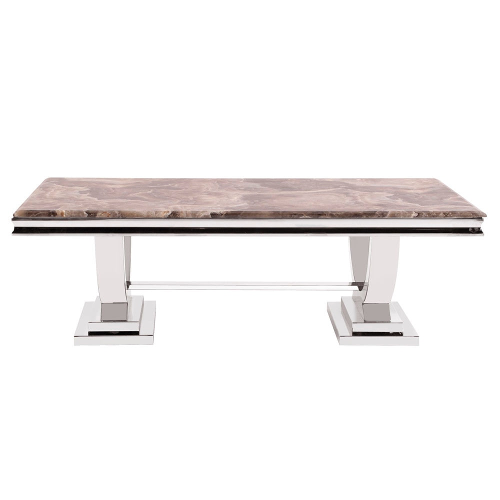 Howard Elliott Stainless Steel Coffee Table With Stone Top HR38002 From  Walter E. Smithe Furniture