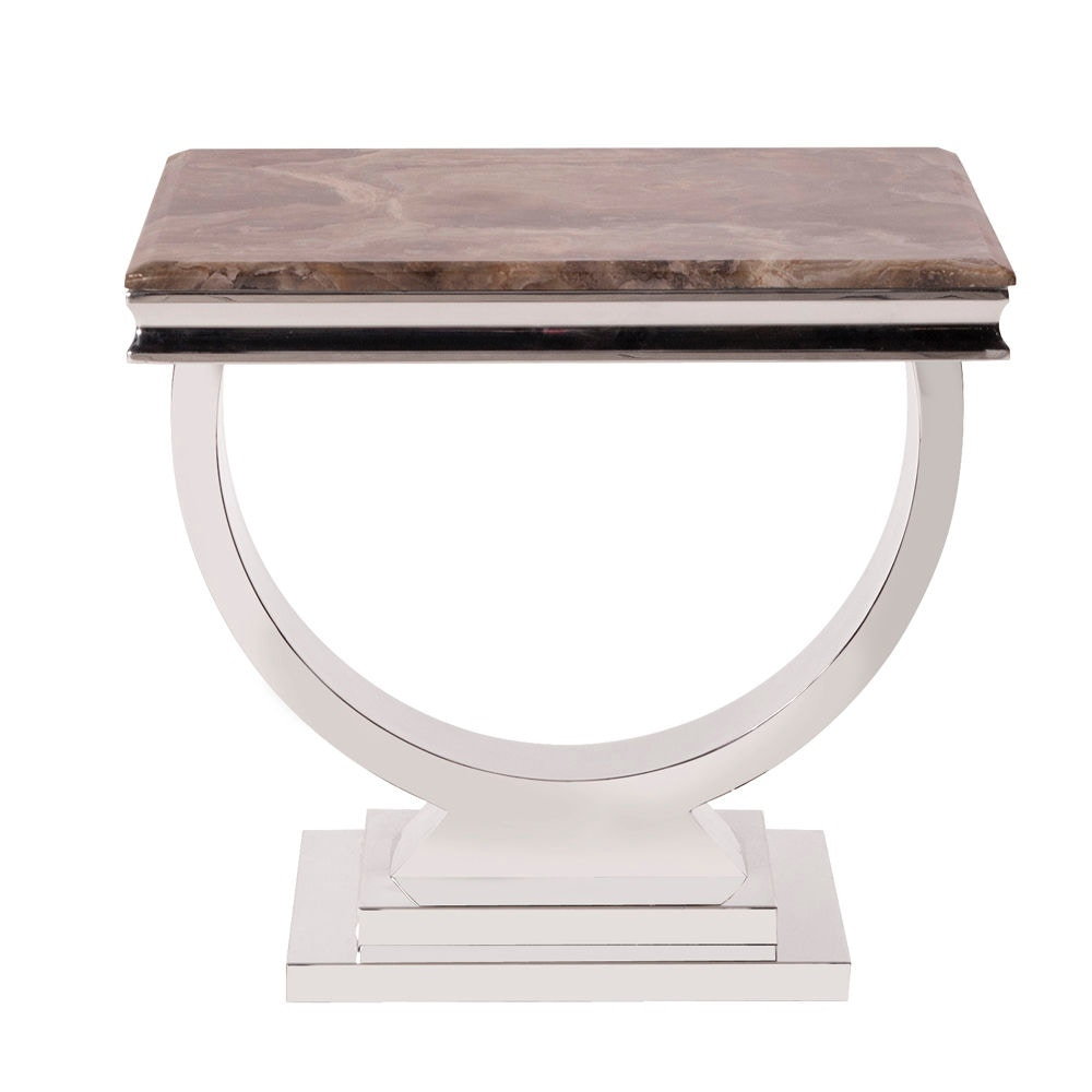 Captivating Howard Elliott Stainless Steel Side Table With Stone Top 38003 From Walter  E. Smithe Furniture