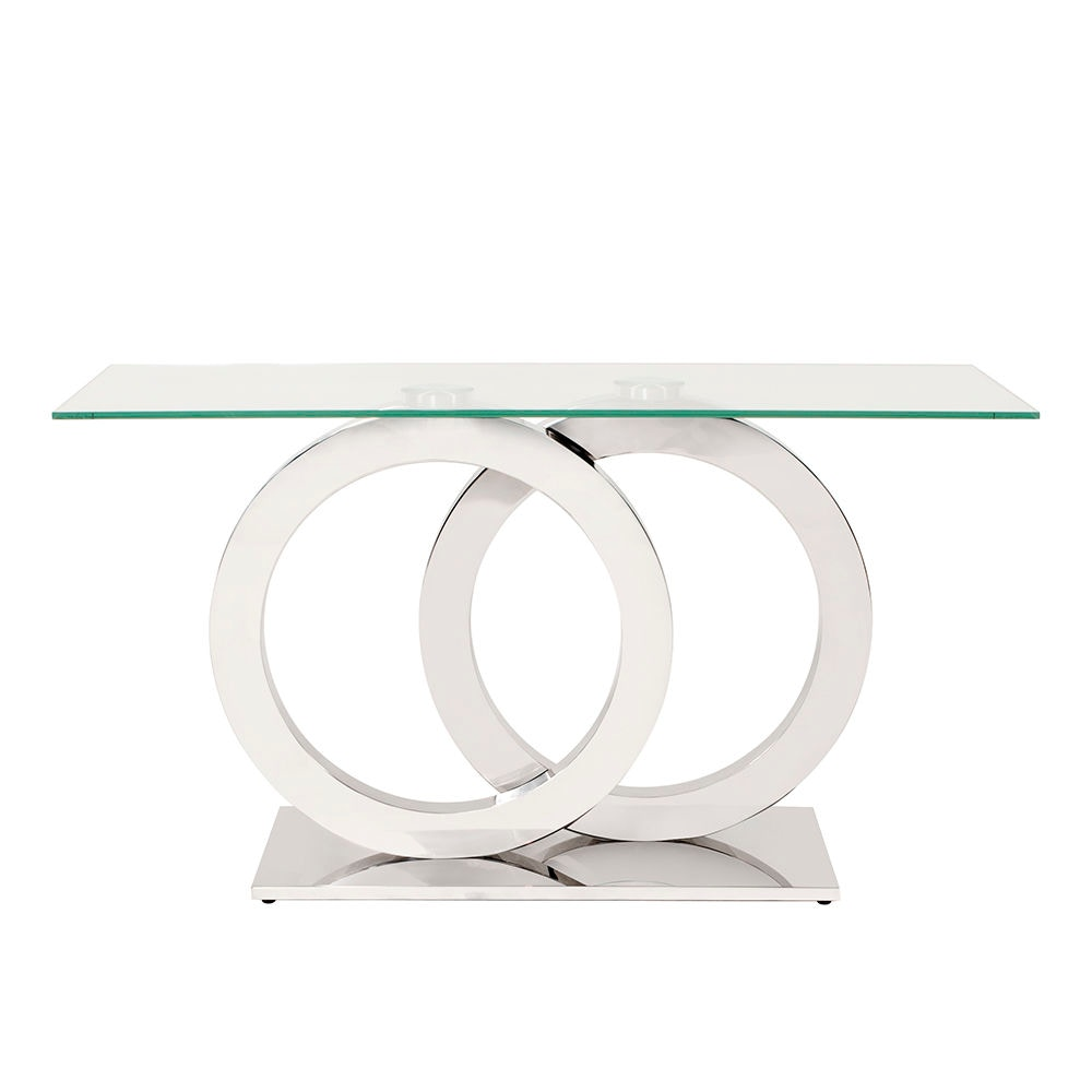 Howard Elliott Stainless Steel Console Table With Circular Base HR38015  From Walter E. Smithe Furniture