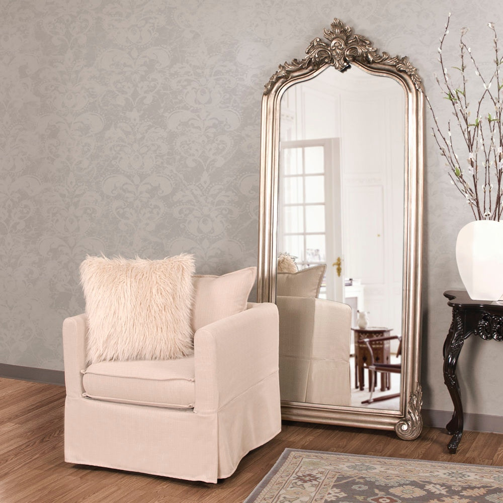 Howard Elliott Tudor Silver Floor Mirror HR53073 From Walter E. Smithe  Furniture + Design
