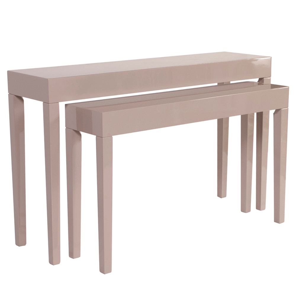 Beau Howard Elliott Glossy Taupe Nesting Console Table Set HR83029 From Walter  E. Smithe Furniture +