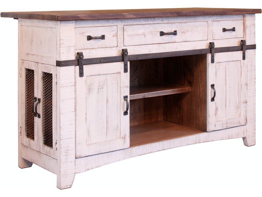 International Furniture Direct 3 Drawer Kitchen Island With 2 Sliding Doors 2 Mesh Doors On