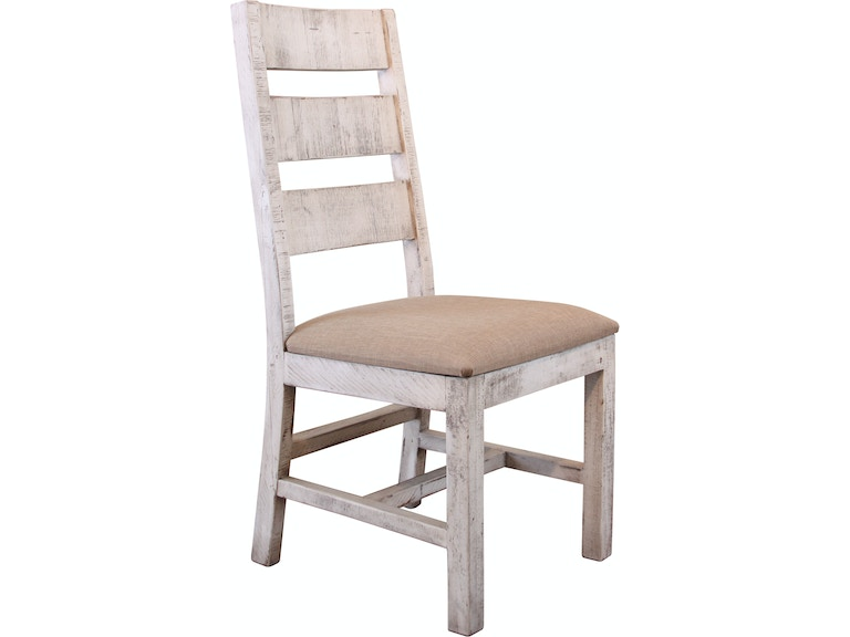 International Furniture Direct Chair With Ladder Back Fabric Seat Solid Wood IFD1022CHAIR