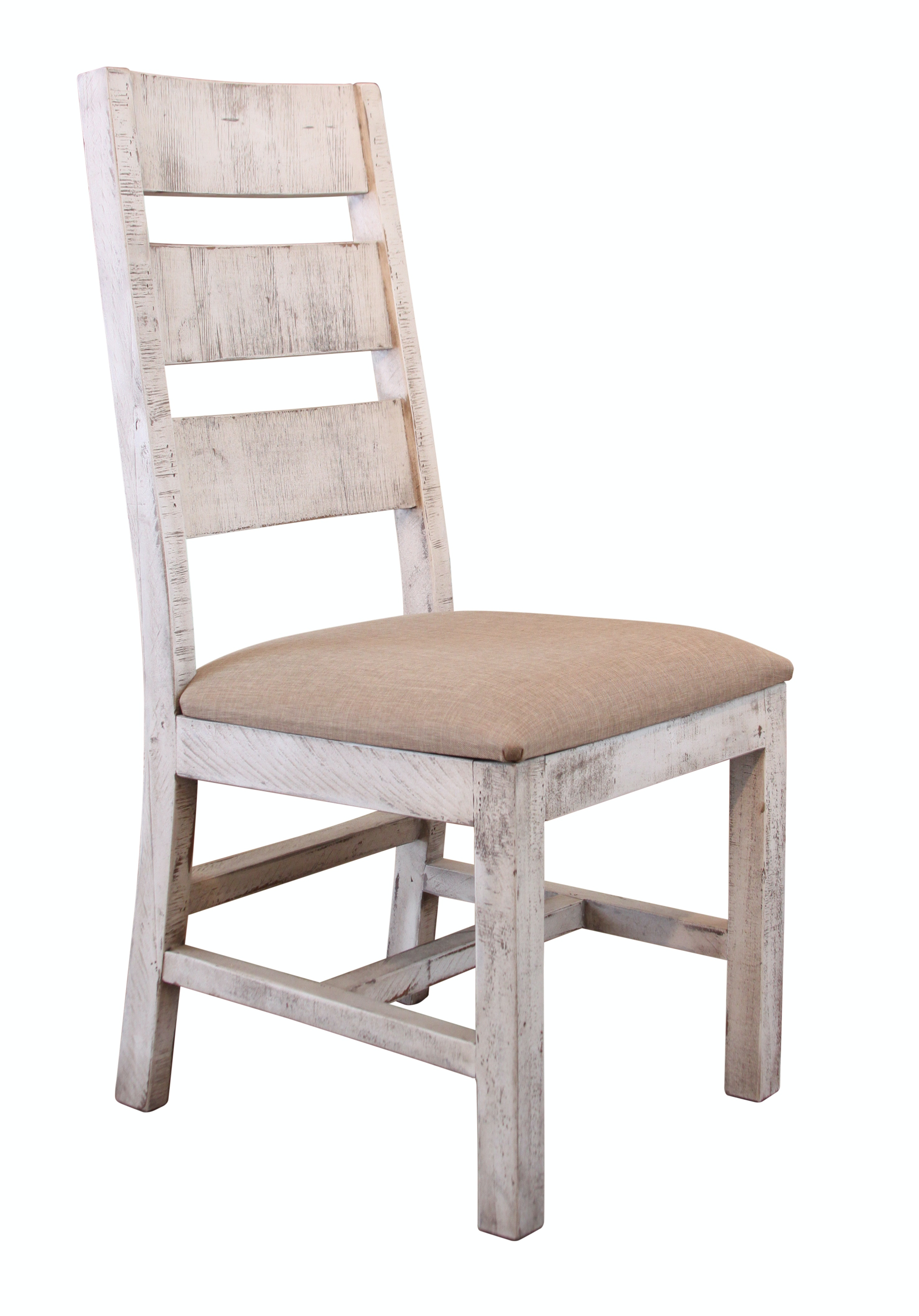 International Furniture Direct Chair With Ladder Back, Fabric Seat, Solid  Wood IFD1022CHAIR