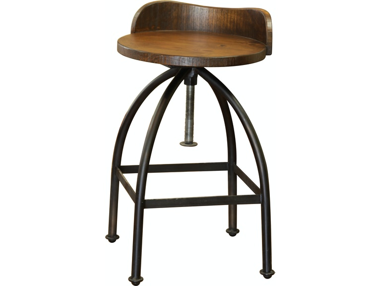 International Furniture Direct 24 30 Adjule Height Swivel Barstool Wooden Seat Iron