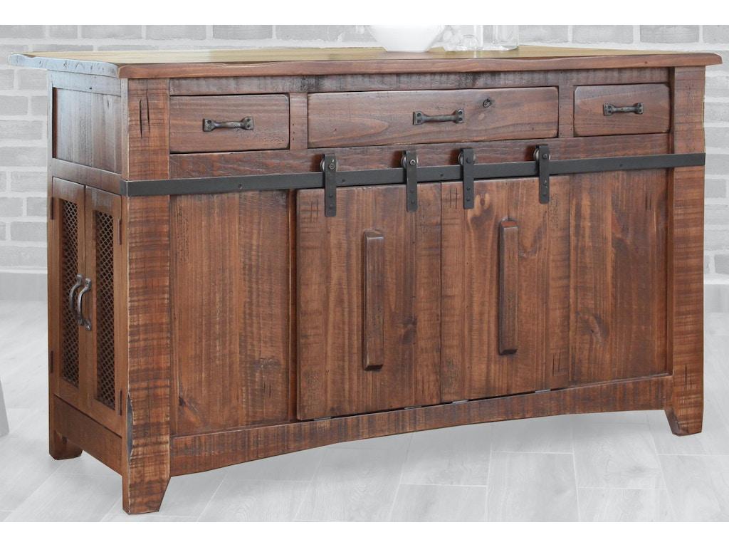 International Furniture Direct 3 Drawer Kitchen Island with 2 ...