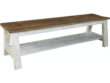 International Furniture Direct Living Room Breakfast and Bedroom Bench with  shelf, Solid Wood - Brown and White Finish IFD361BENCH at Morris Furniture  ...