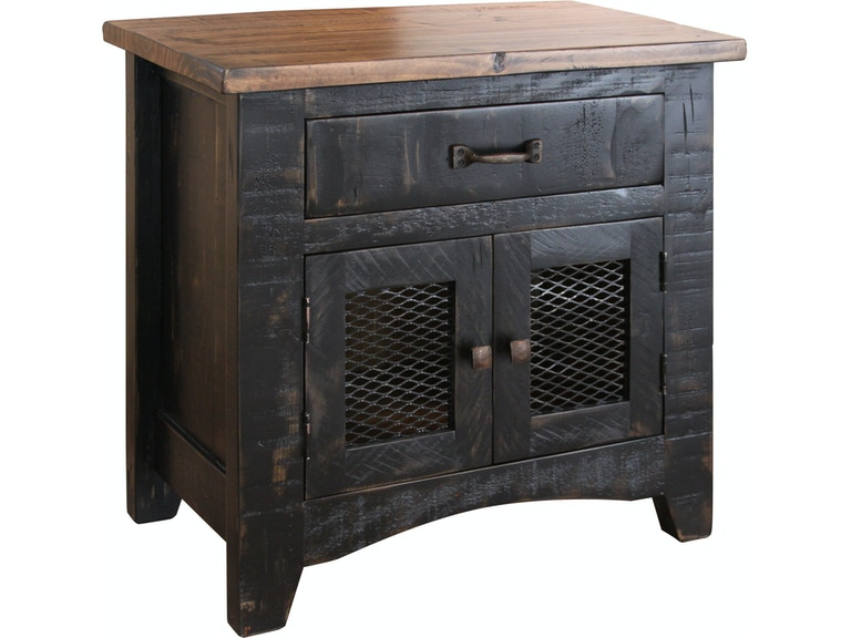 International Furniture Direct 1 Drawer 2 Mesh Door Nightstand Ifd370ntst