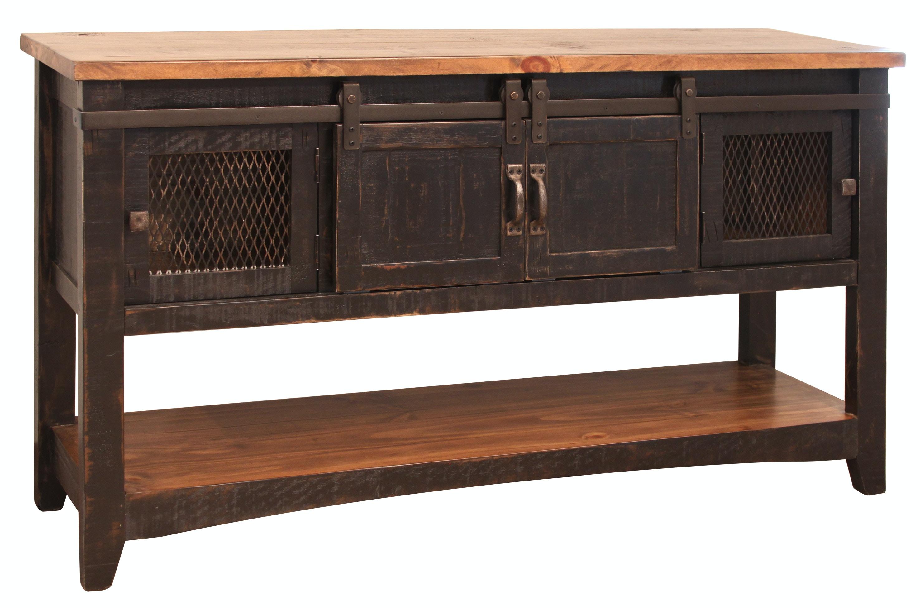 International Furniture Direct Sofa Table 2 Sliding DR, 2 Mesh DR Pueblo  Black 370221