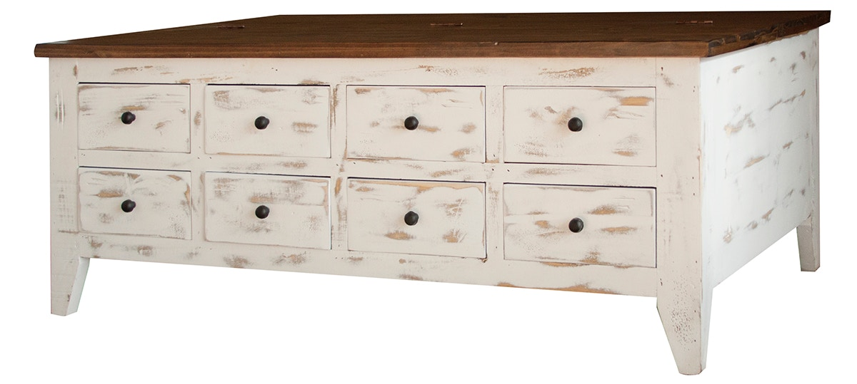 International Furniture Direct Cocktail Table With 8 Drawers On One Side And  Hinged Top Storage On