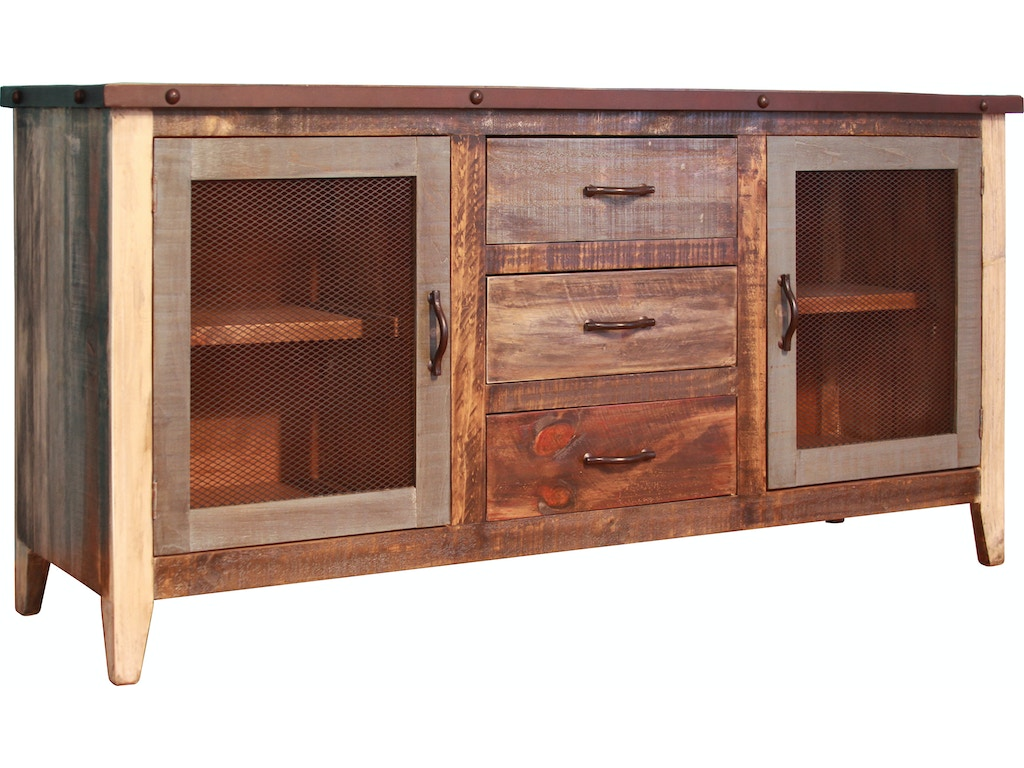 International Furniture Direct Dining Room Multi Color Buffet With 2 Iron Mesh Door Panels Shelves 3 Drawers Ifd962buffet Mc At Morris