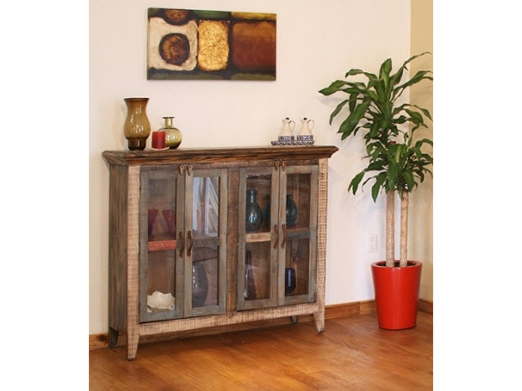 International Furniture Direct Living Room 50 Console With 4 Glass Doors Multi Color Finish