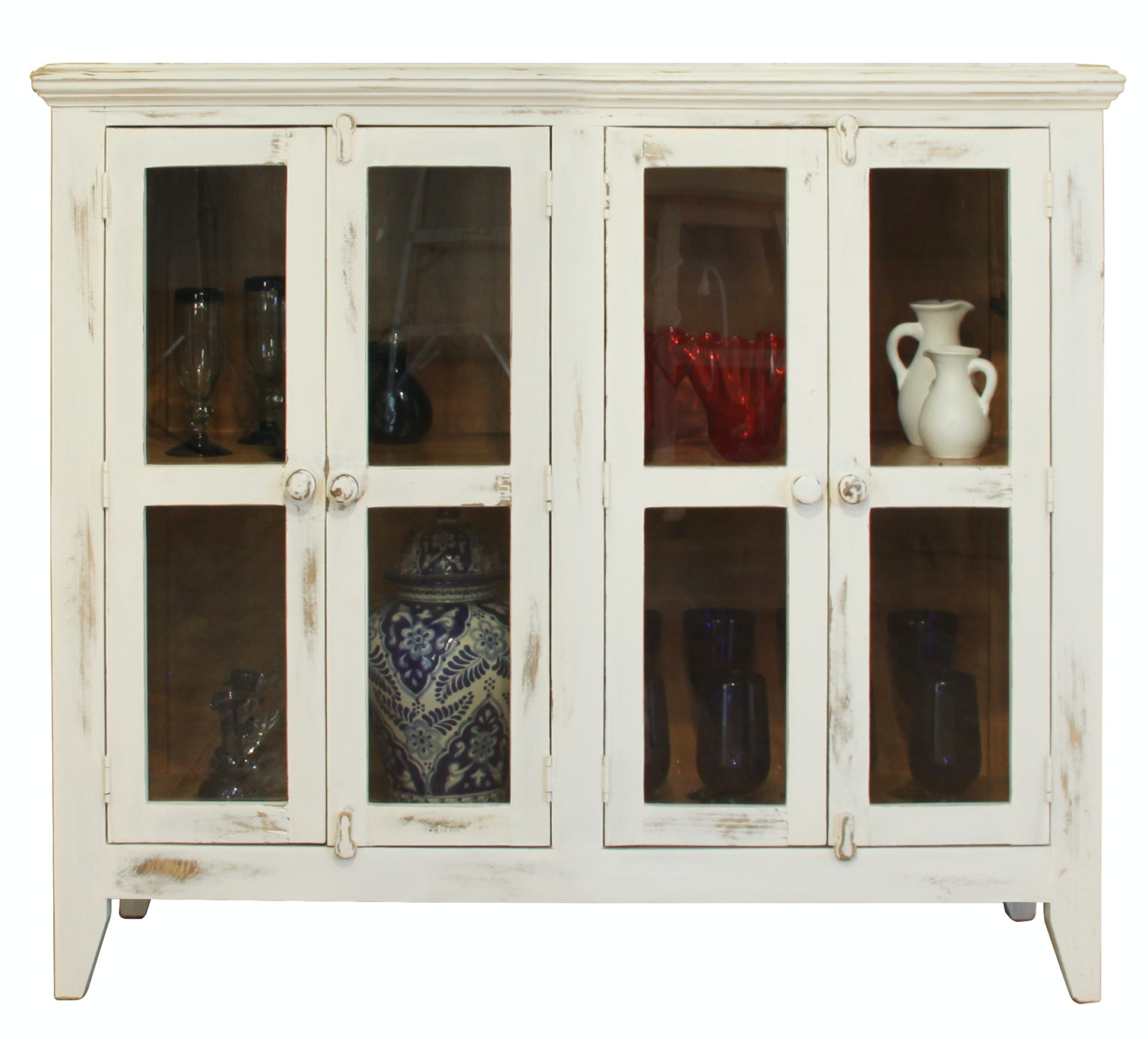 International Furniture Direct White Console With 4 Glass Doors IFD967CONS W
