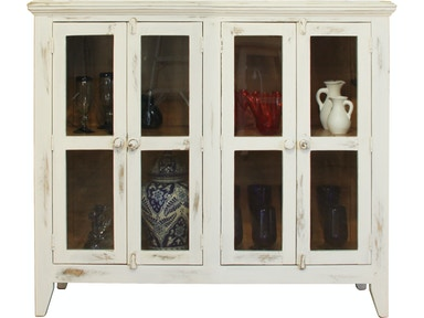 International Furniture Direct Living Room White Console With 4 Gl Doors