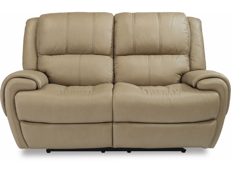 Flexsteel Living Room Leather Power Reclining Loveseat W