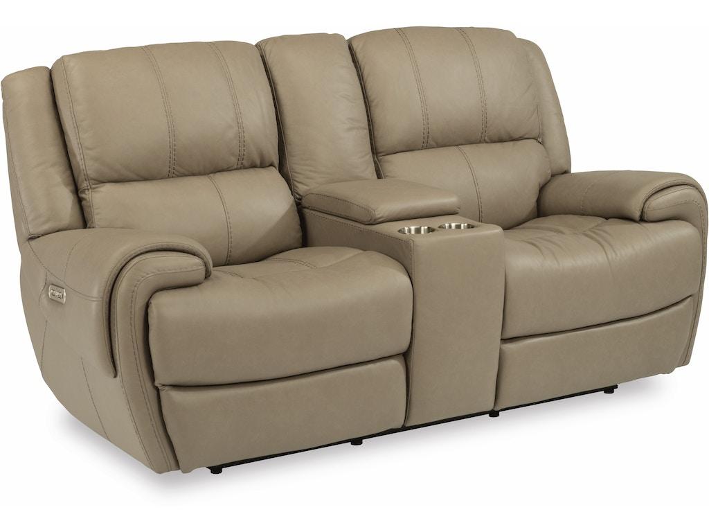 Flexsteel Living Room Leather Power Reclining Loveseat