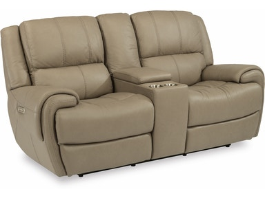 Flexsteel Leather Power Reclining Loveseat With Console And Power Headrests 1179-64PH