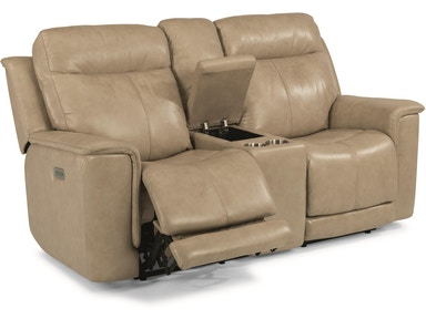 Flexsteel Living Room Leather Power Reclining Sofa With
