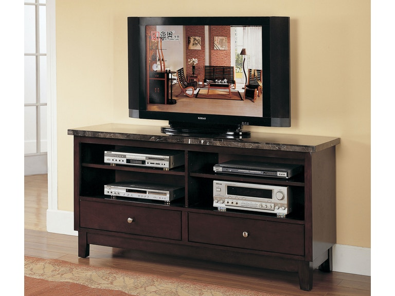 Acme Furniture Home Entertainment Tv Console W Black Marble Top 07093b At Hi Desert