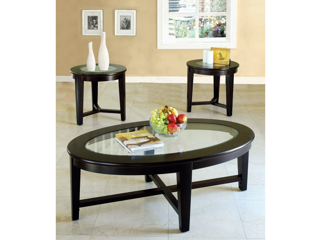 Acme furniture living room kort 3 piece coffee and end for Three piece living room table set