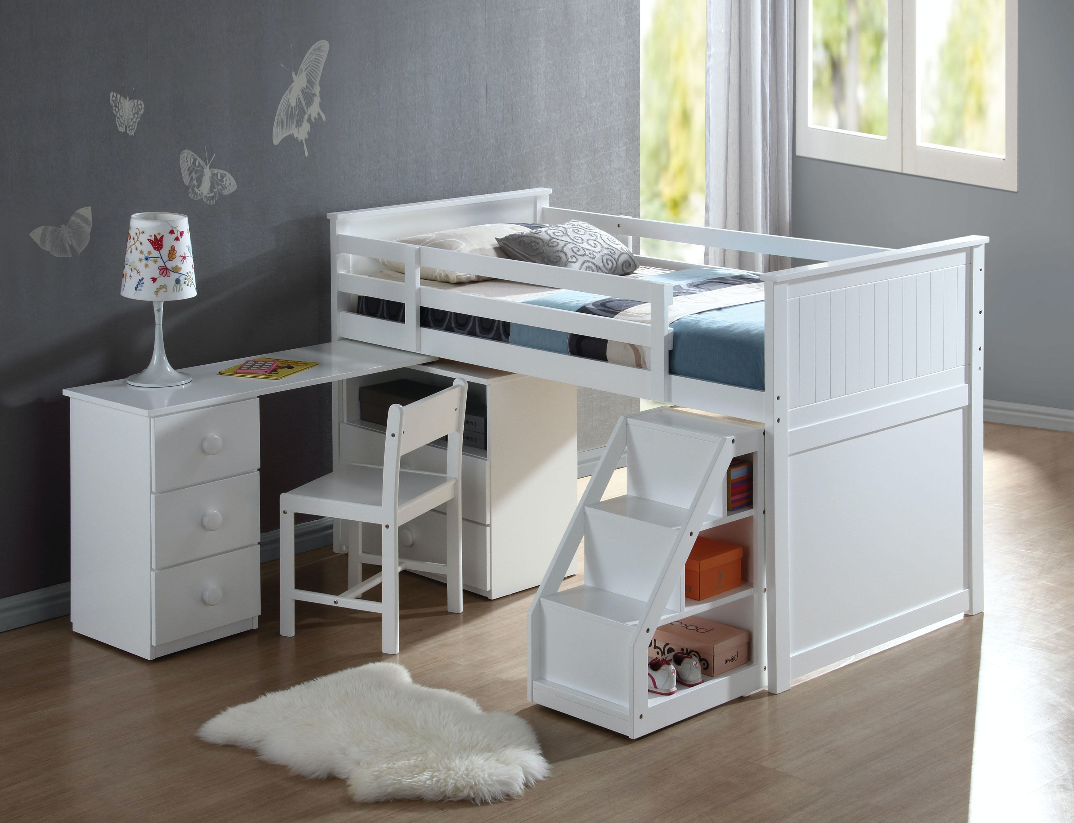 Merveilleux Acme Furniture Loft Bed With Chest And Swivel Desk 19405