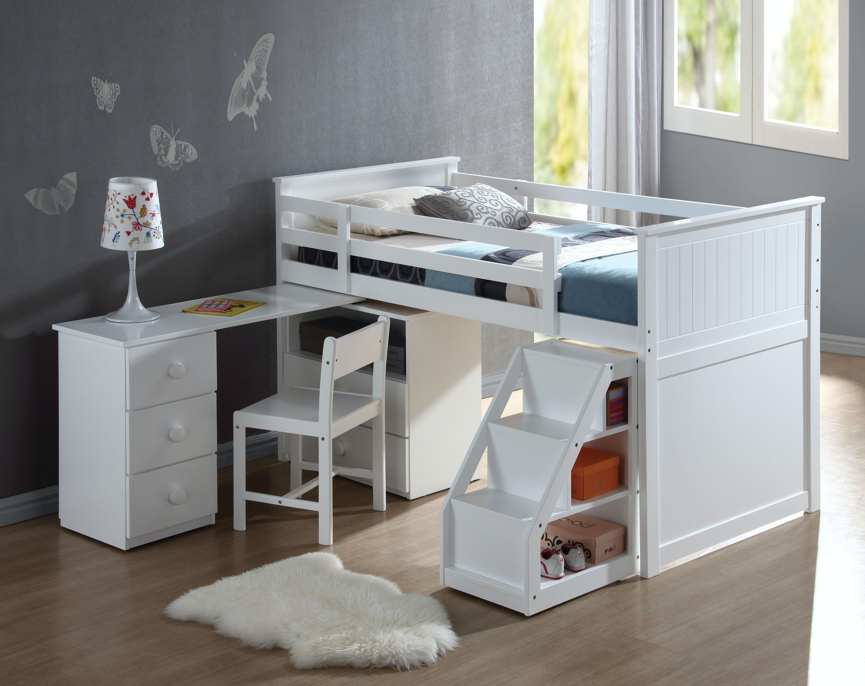 Acme Furniture Youth Loft Bed With Chest And Swivel Desk 19405 At The  Furniture Mall