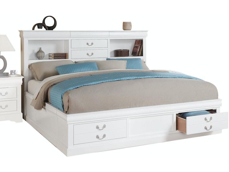 02d33f82e814f Acme Furniture Louis Philippe III Eastern King Bed with Storage 24487EK