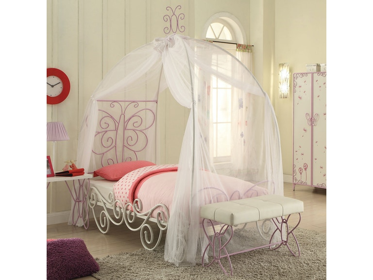 Acme Furniture Youth Priya Ii Twin Bed With Canopy 30530t The