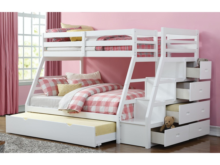 Jason Twin Over Full Bunk Bed With Storage Ladder Trundle