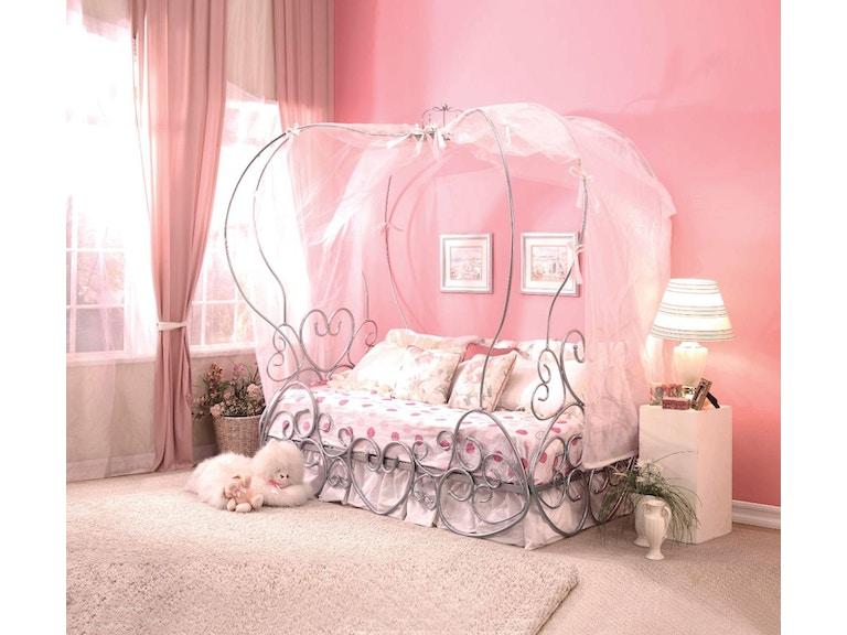 Acme Furniture Youth Priya Punpkin Twin Bed With Canopy Fulton