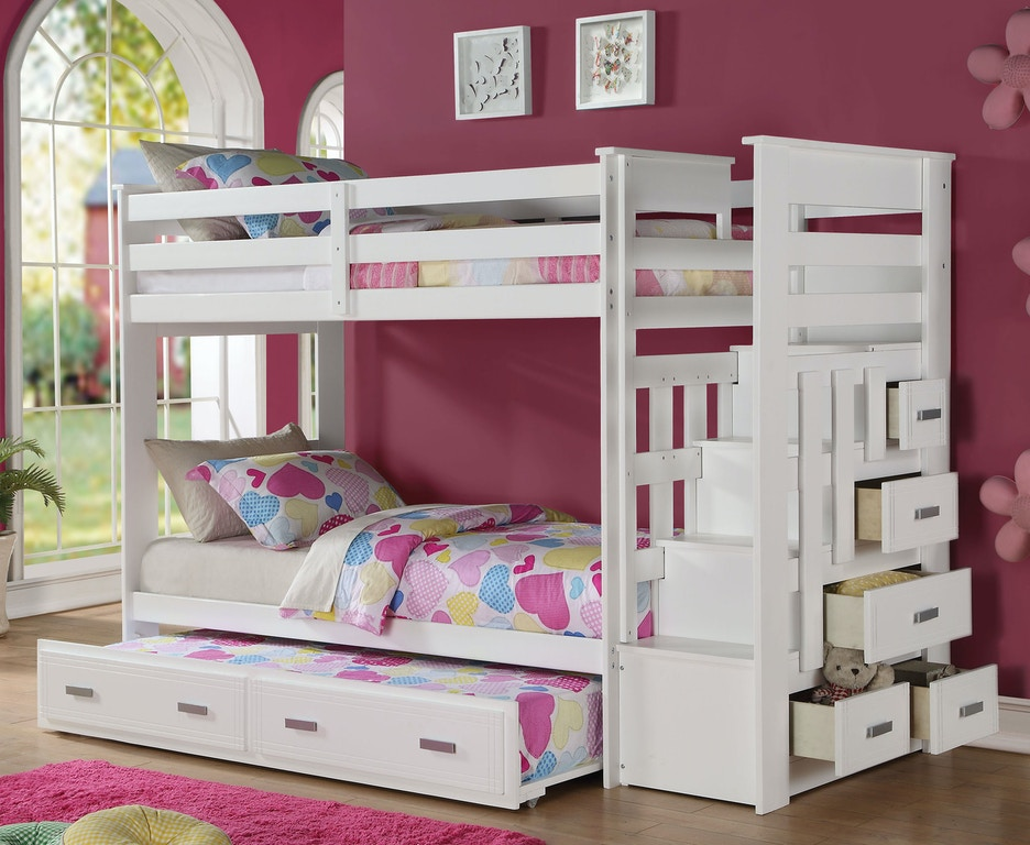 Acme Furniture Youth Allentown Twin Twin Bunk Bed With Storage Ladder And Trundle 37370 The
