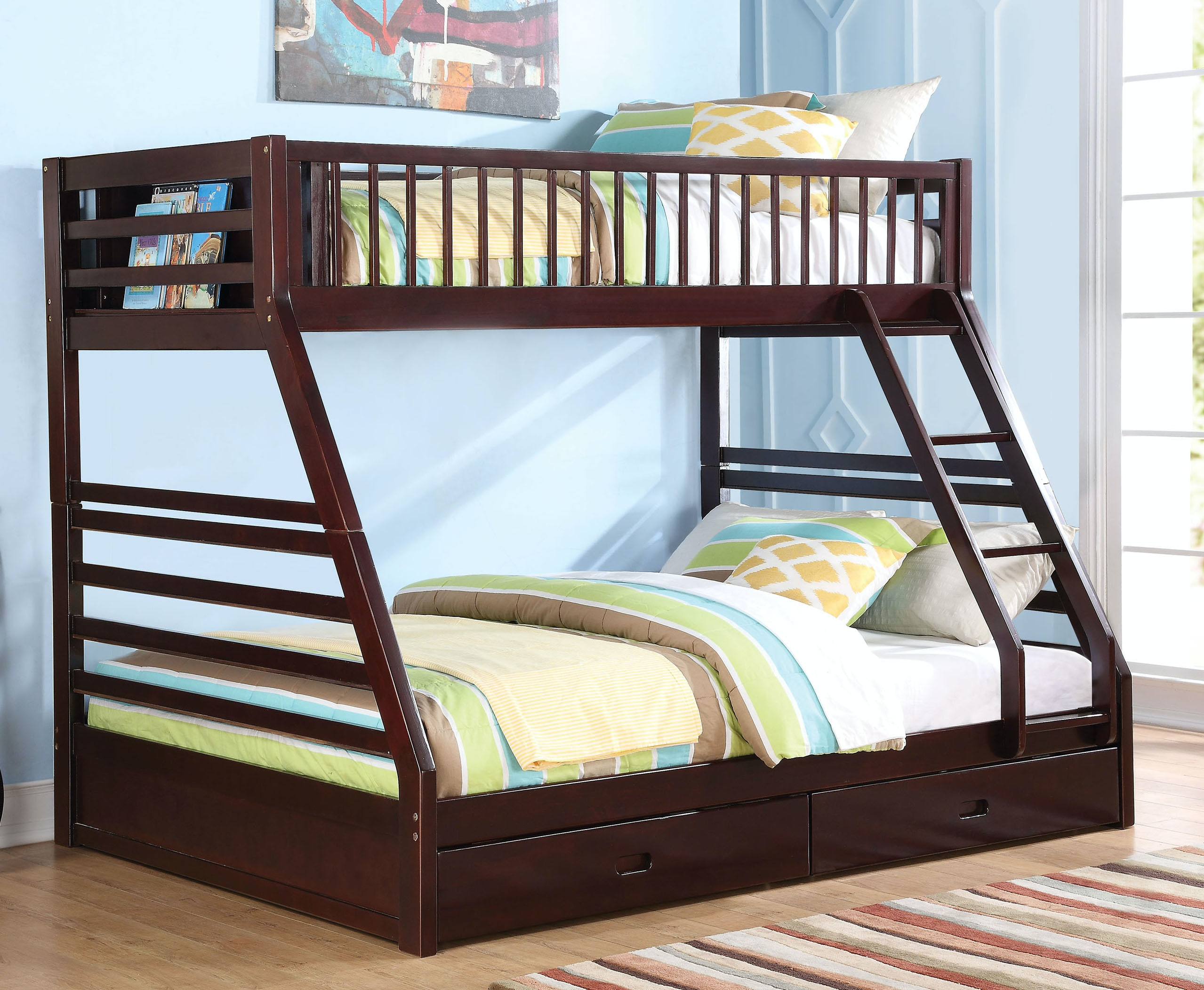 Acme Furniture Youth Jason Twin Xl Over Queen Bunk Bed With Drawer